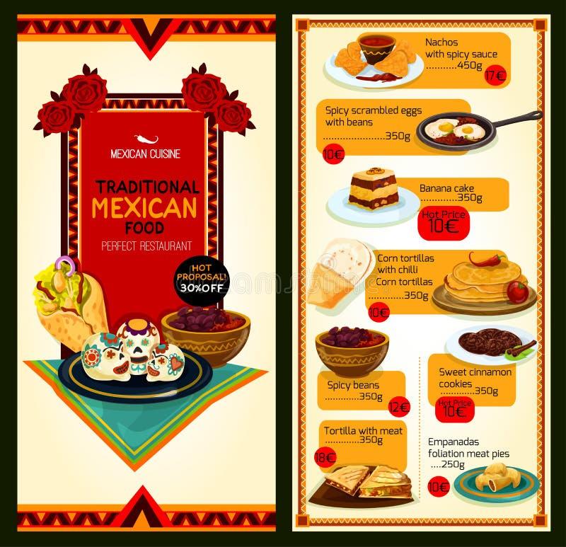 Menu mexicano do vetor da culinária do restaurante ilustração do vetor