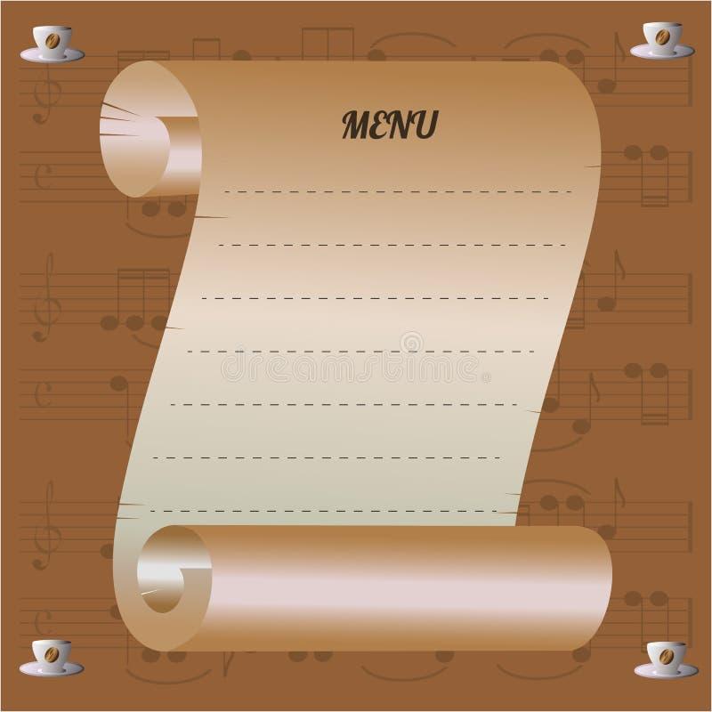 Menu musical de café avec la graine de café et les notes photos libres de droits