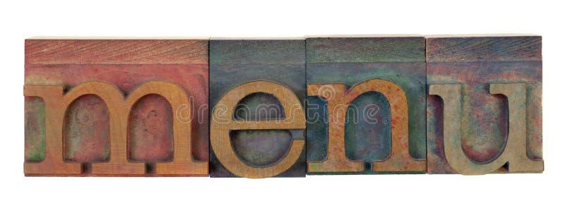 Menu nel tipo di legno dello scritto tipografico fotografie stock