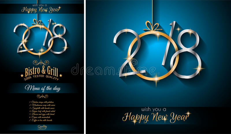 2018 Menu New Year Background for your Seasonal Flyers and Greetings Card vector illustration