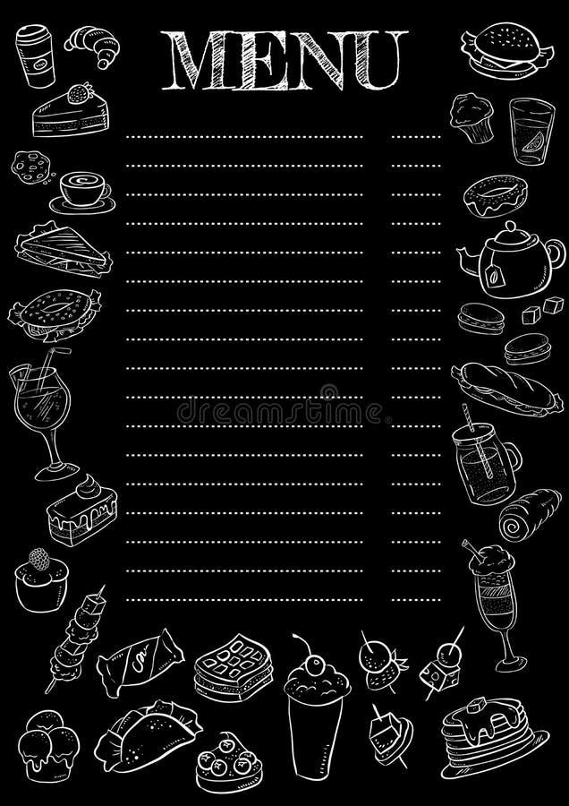 Menu noir et blanc de tableau Illustration de vecteur illustration libre de droits