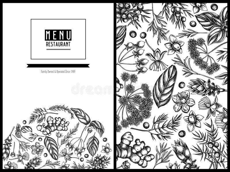 Menu okładkowy kwiecisty projekt z czarny i biały arcydzięglem, basil, jałowiec, hypericum, rozmaryn, turmeric royalty ilustracja
