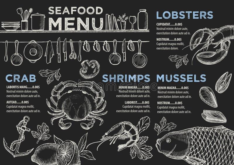 Menu owoce morza restauracja, karmowy szablonu placemat ilustracja wektor