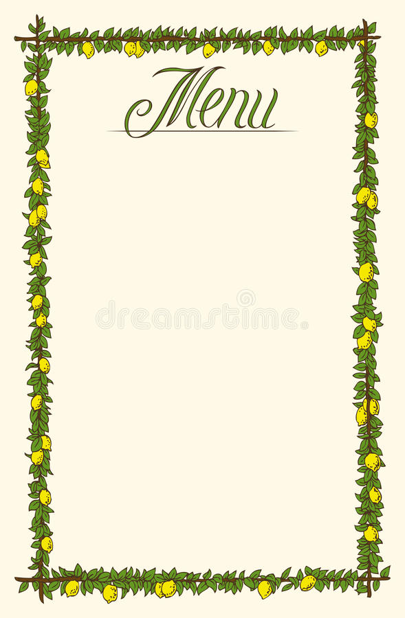 Menu Page Design. Hand Drawn Menu Page Design with Lemons and Green Leaves vector illustration