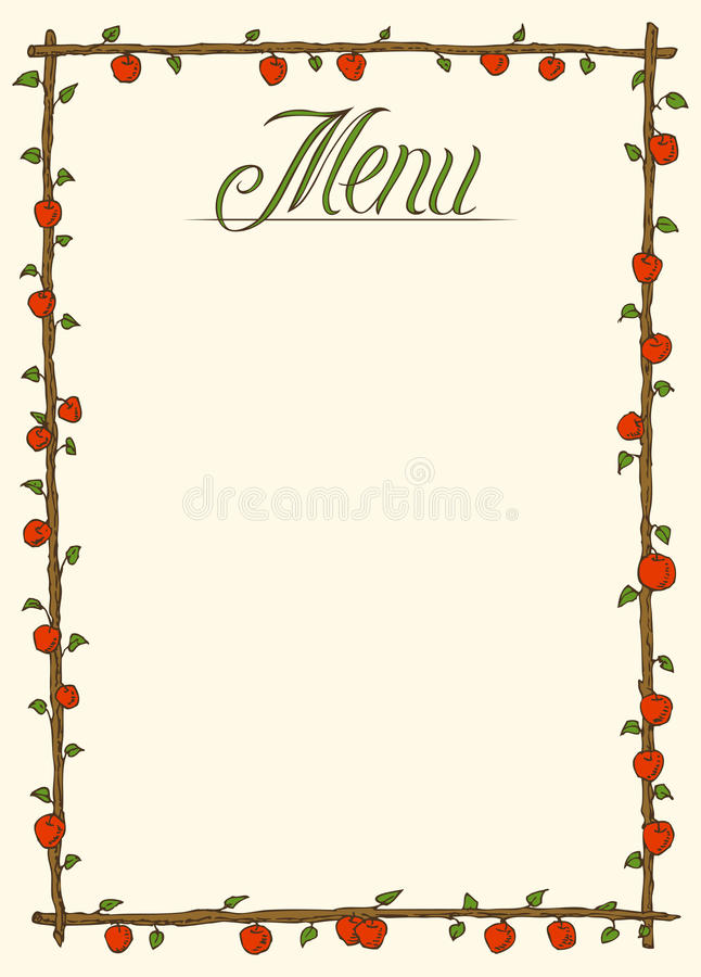 Menu Page Design. Hand Drawn Menu Page Design with Red Apples and Green Leaves vector illustration