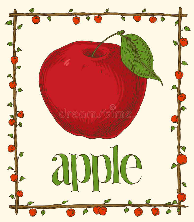 Menu Page Design. Hand Drawn Menu Page Design with Red Apples and Green Leaves stock illustration