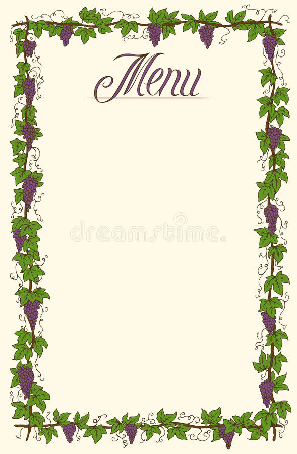 Menu Page Design. Hand Drawn Menu Page Design with Ripe Grapes and Green Leaves stock illustration
