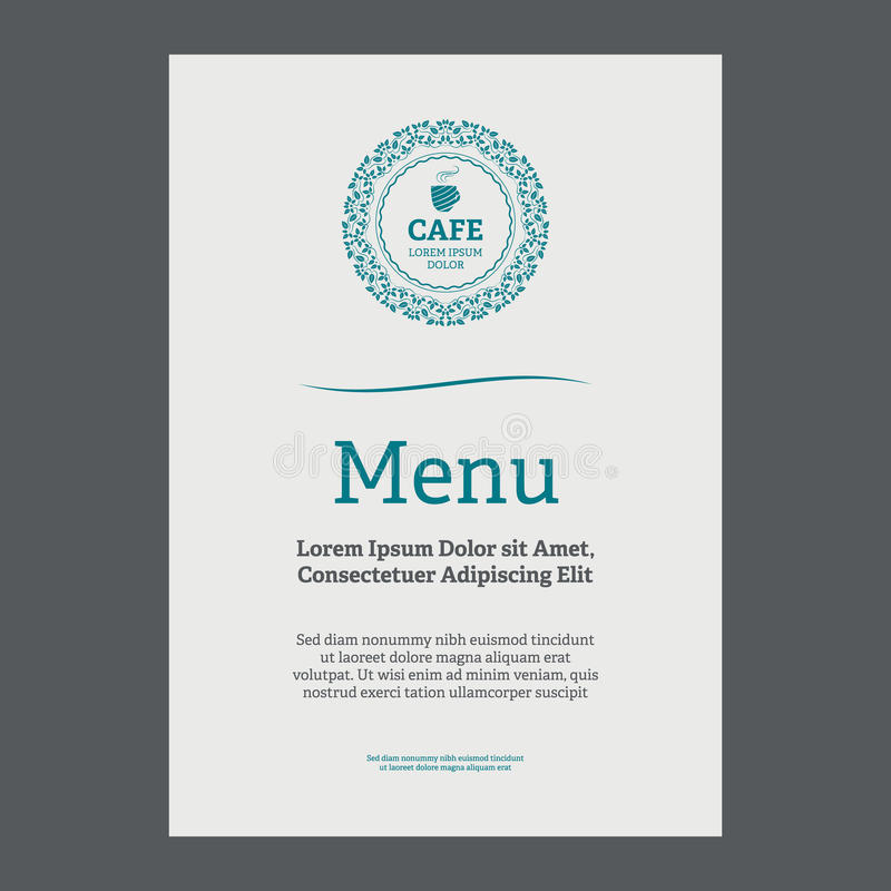 Menu page design. In vintage style on white background stock illustration