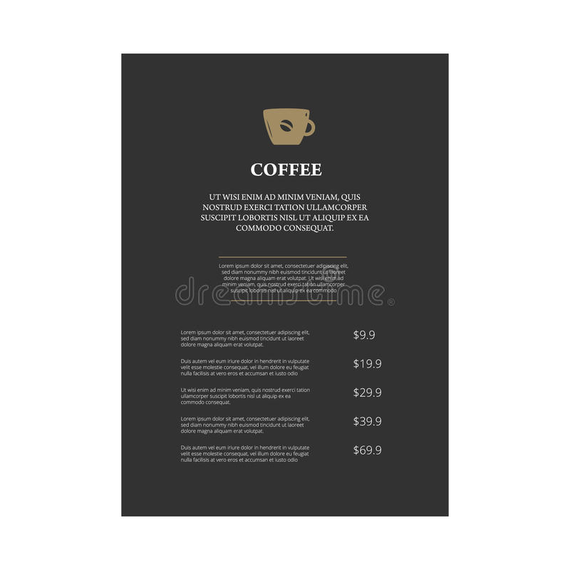 Menu page design. In vintage style on white background royalty free illustration