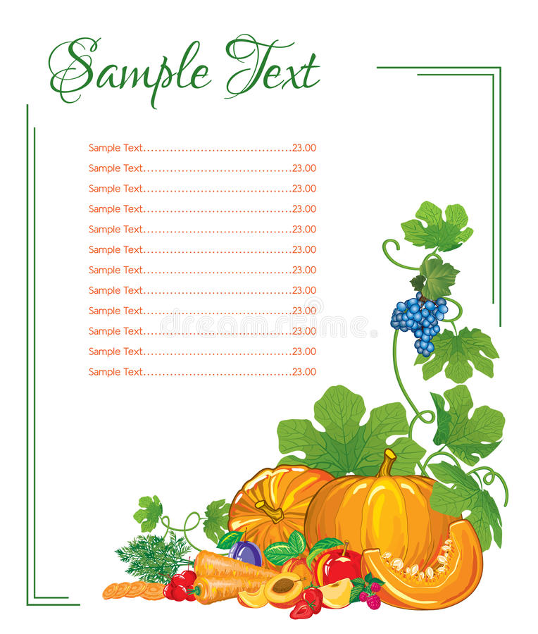 Menu page from vegetables and fruits. With slices on a white background with a place for inscription vector illustration