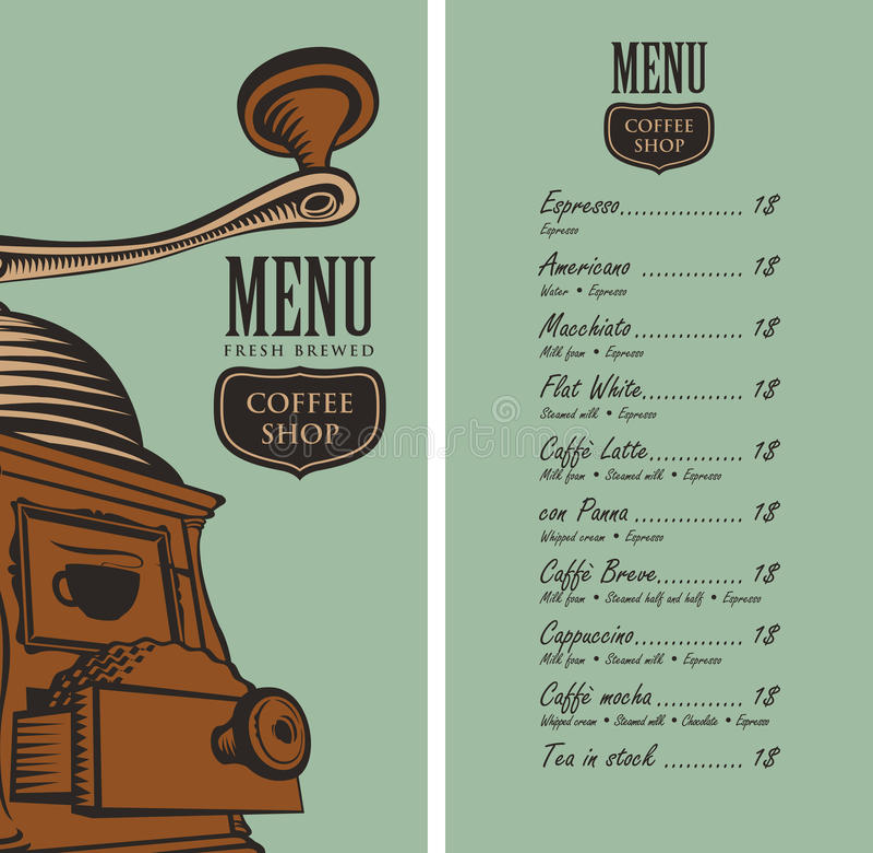 Menu para a cafetaria com moedor e preço de café ilustração stock