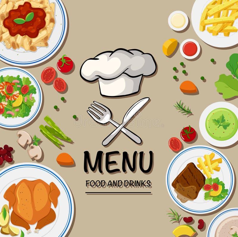 Menu para o alimento italiano ilustração do vetor