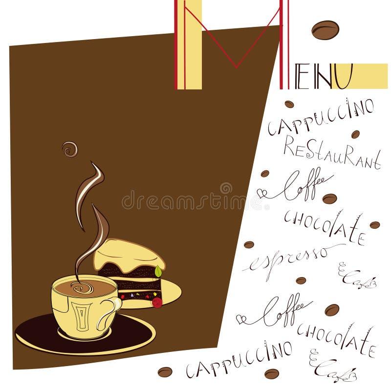 Menu para o café ilustração royalty free
