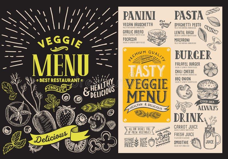 Menu para o restaurante do vegetariano Inseto do alimento do vetor para a barra e o Ca ilustração stock