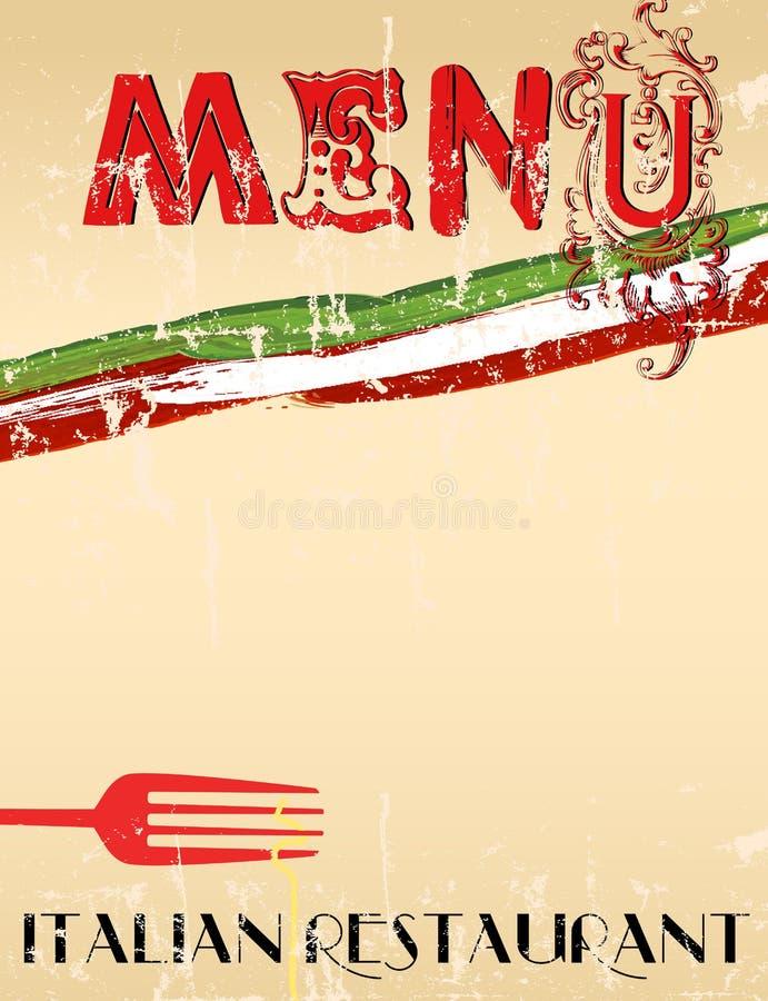 Menu para o restaurante italiano, ilustração do vetor