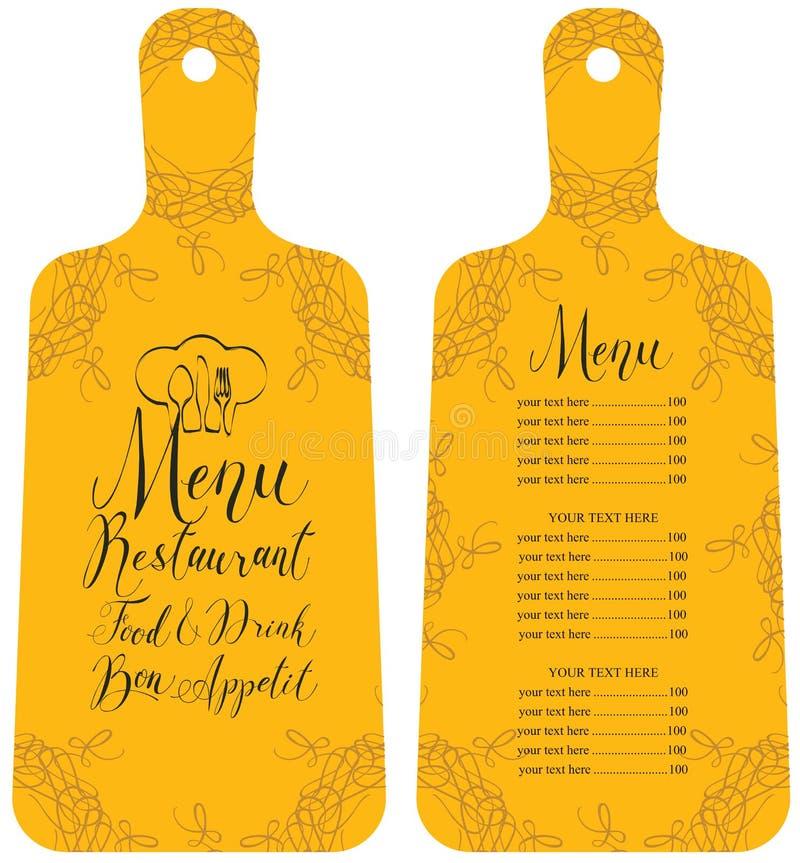 Menu para o restaurante na placa de corte do formulário ilustração do vetor