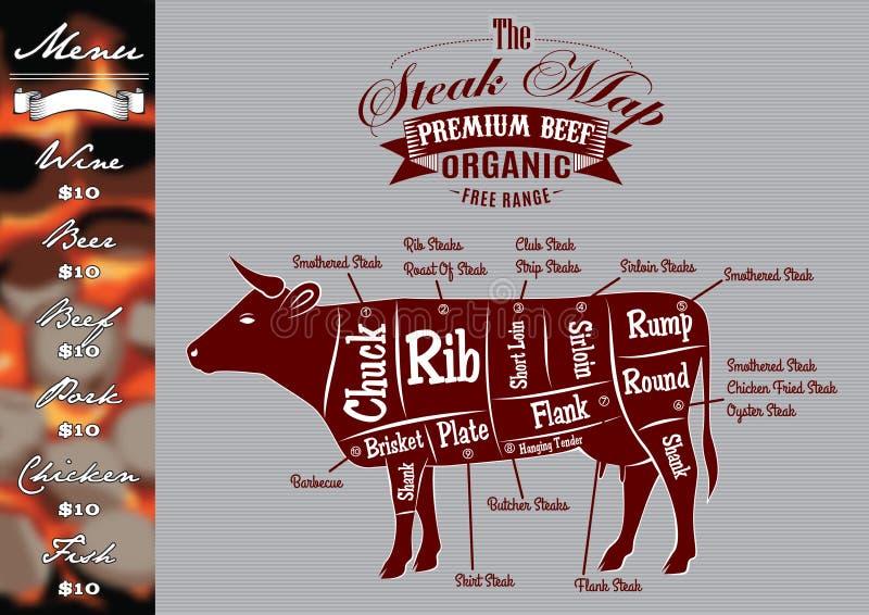 Menu per grigliare con le bistecche e la mucca royalty illustrazione gratis
