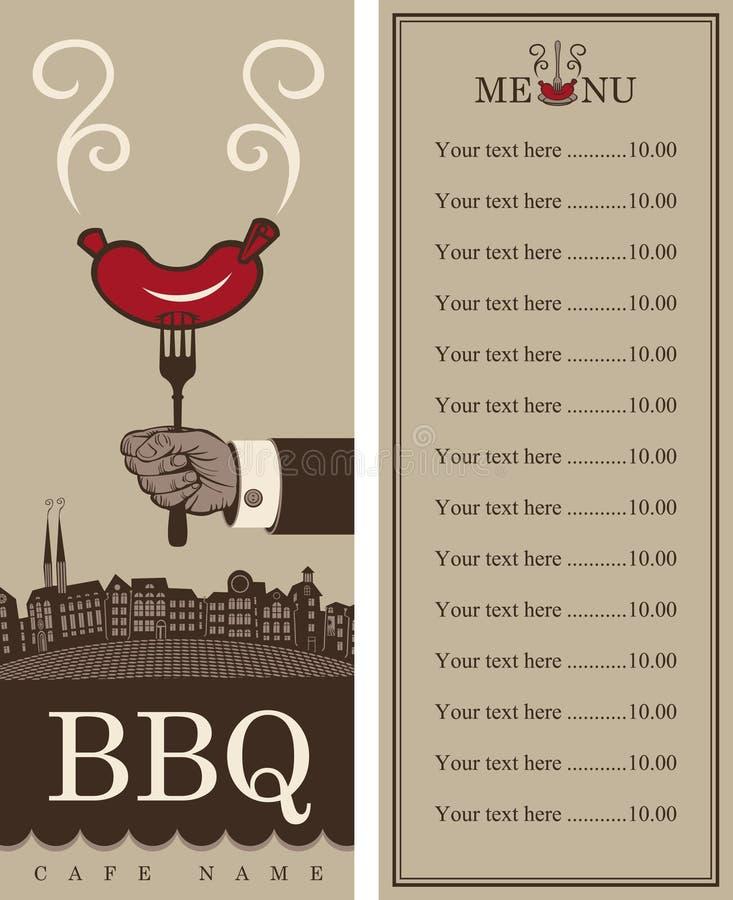 Menu per il barbecue royalty illustrazione gratis