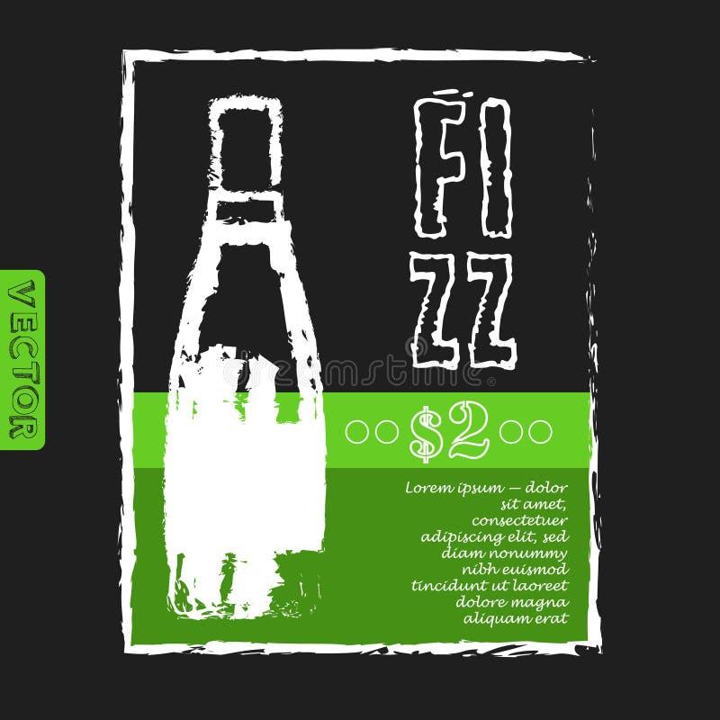 Menu per un ristorante con la bottiglia di gin Fizz sul royalty illustrazione gratis