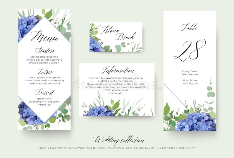 Menu pessoal floral do casamento, lugar, informação, número c da tabela ilustração royalty free