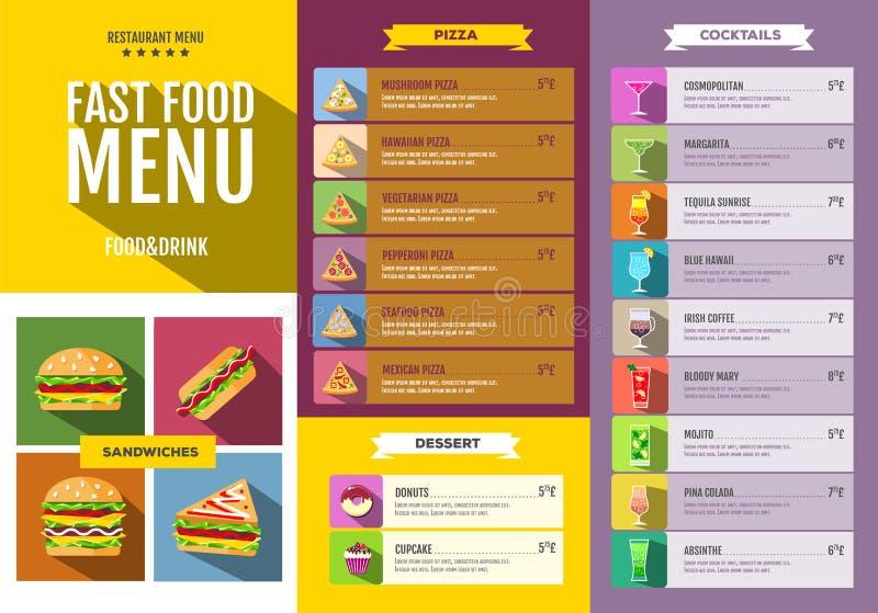 Menu piano degli alimenti a rapida preparazione Insieme delle icone delle bevande e dell'alimento illustrazione di stock