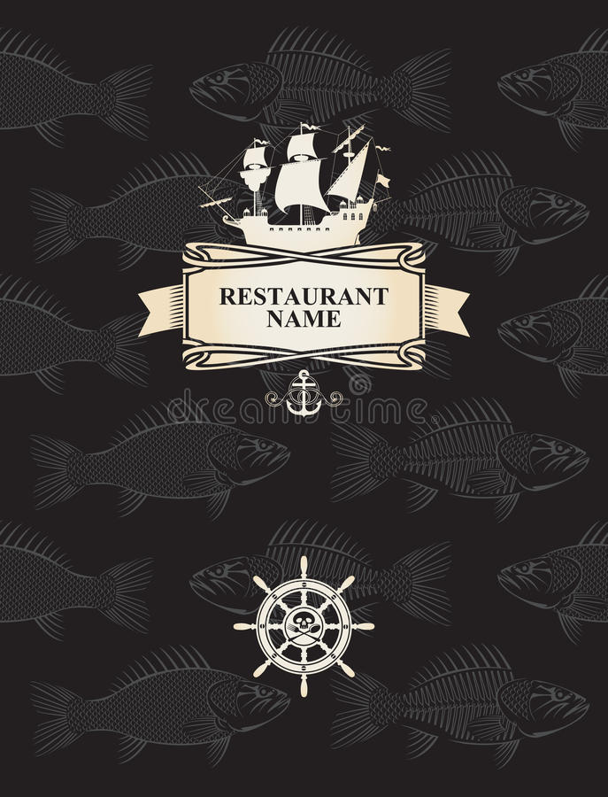 Download Menu with a pirate sail stock vector. Image of cover - 28305603
