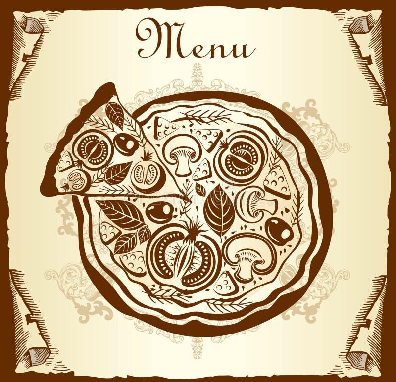 menu pizza ilustracja wektor