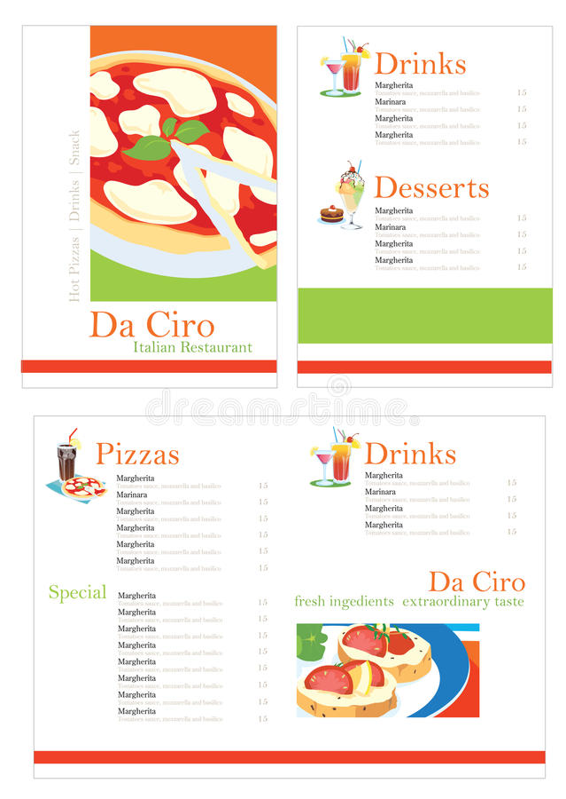 menu pizzy szablon obraz royalty free