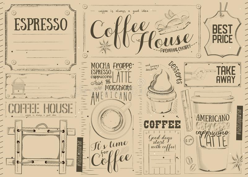 Menu Placemat del caffè royalty illustrazione gratis