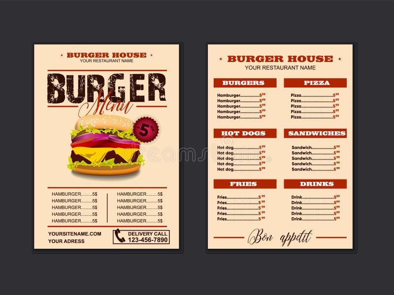 Menu placemat food restaurant brochure, menu template design. Vector food menu flyer. Gourmet menu board. Eps10 royalty free illustration