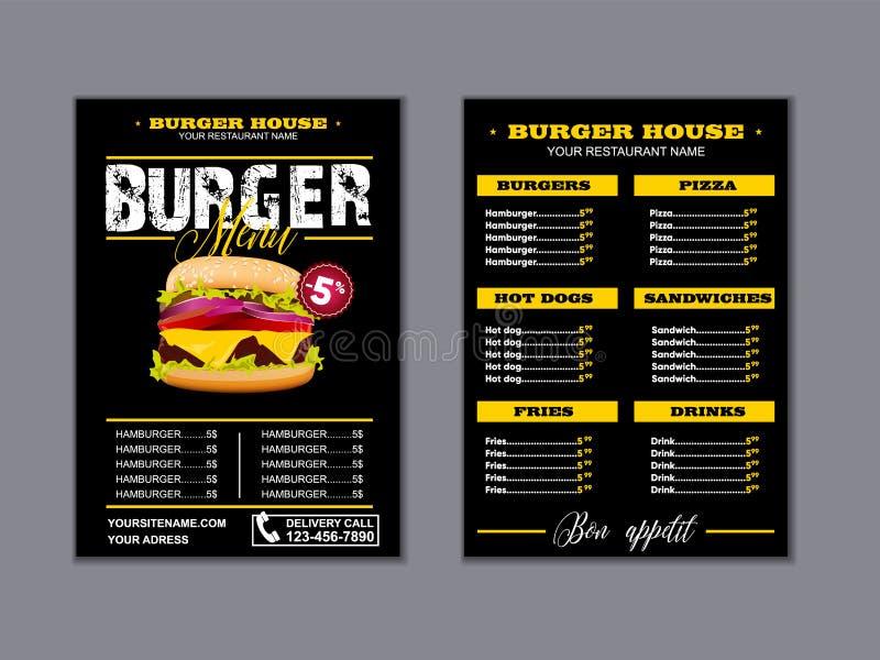 Menu placemat food restaurant brochure, menu template design. Vector food menu flyer. Gourmet menu board. Eps10 stock illustration
