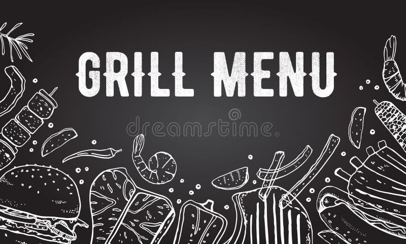 Menu pokrywy projekta szablon Grill i grilla jedzenie Konturu nakre?lenia wektorowa r?ka rysuj?ca ilustracja ilustracji