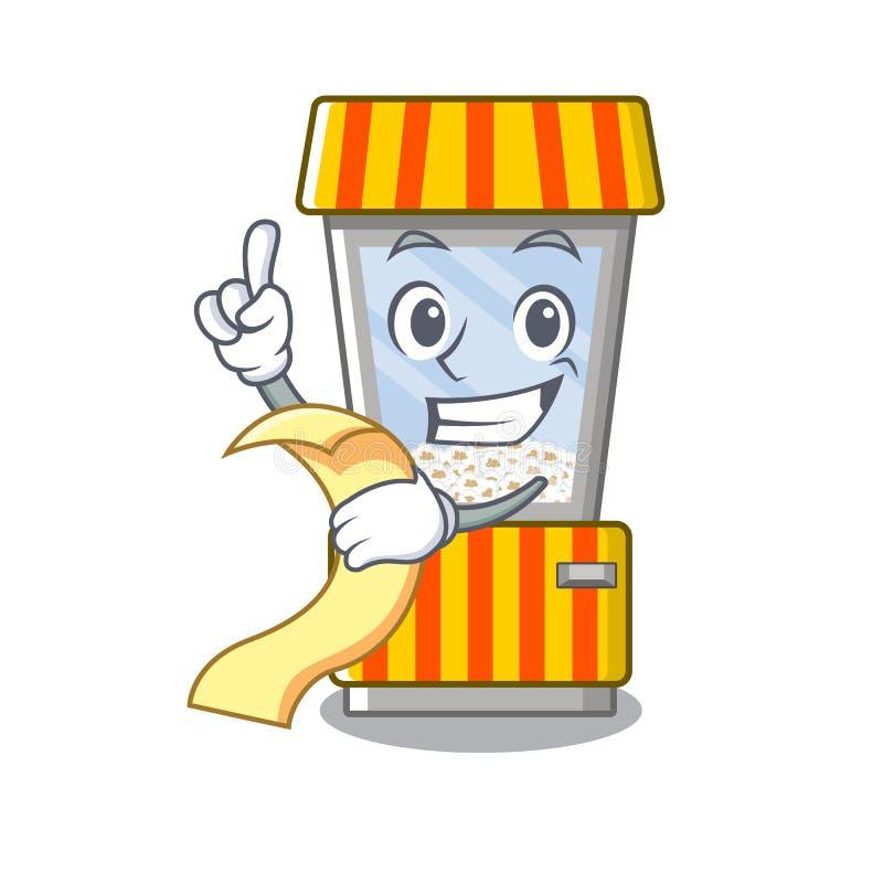 With menu popcorn vending machine is formed cartoon. Illustration vector royalty free illustration