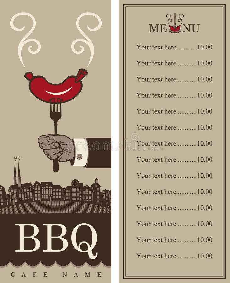 Menu pour le barbecue illustration libre de droits
