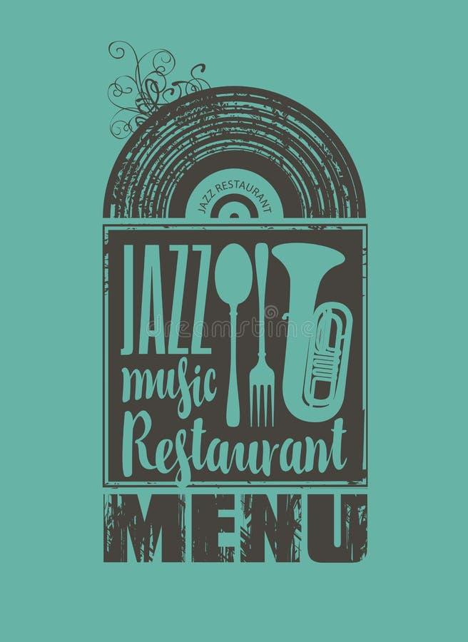 Menu pour le restaurant avec la musique de jazz illustration stock