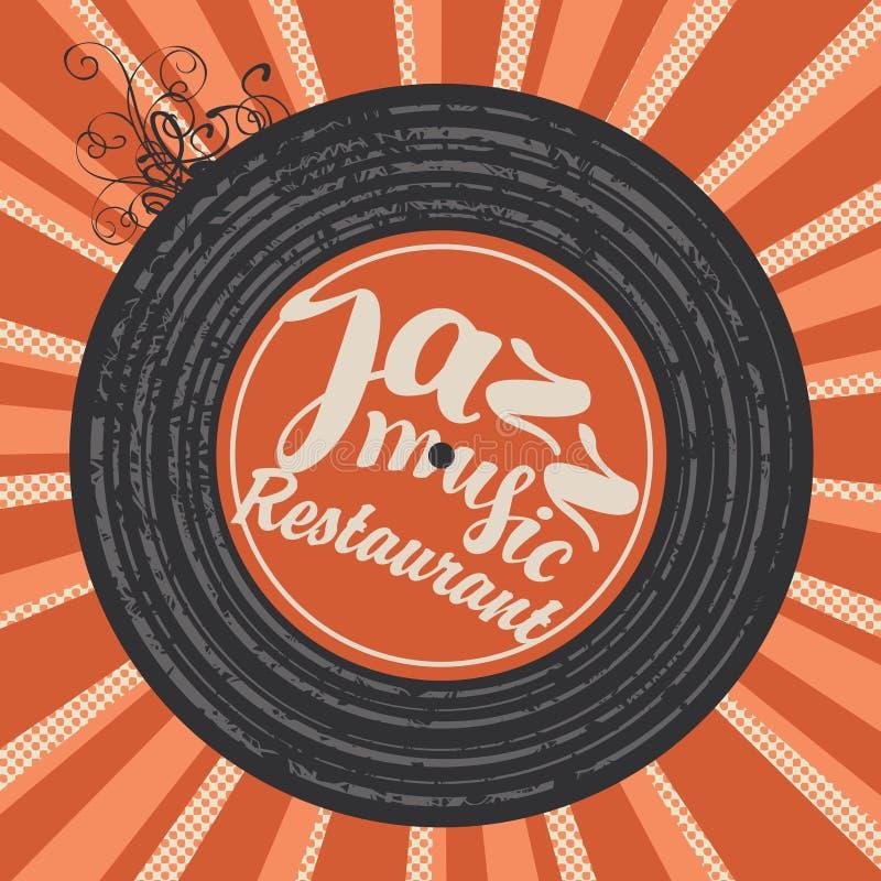 Menu pour le restaurant de jazz avec le disque vinyle illustration stock