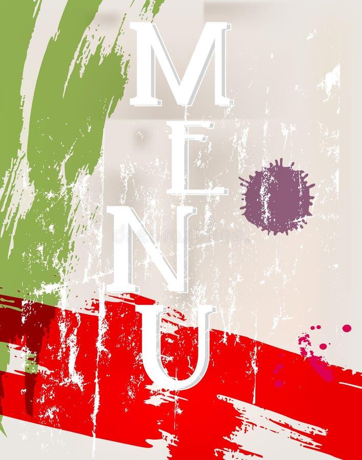Menu pour le restaurant italien, illustration stock
