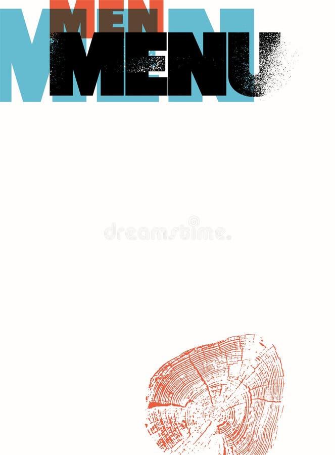Menu pour les hommes Conception typographique de menu de restaurant Illustration de vecteur illustration de vecteur