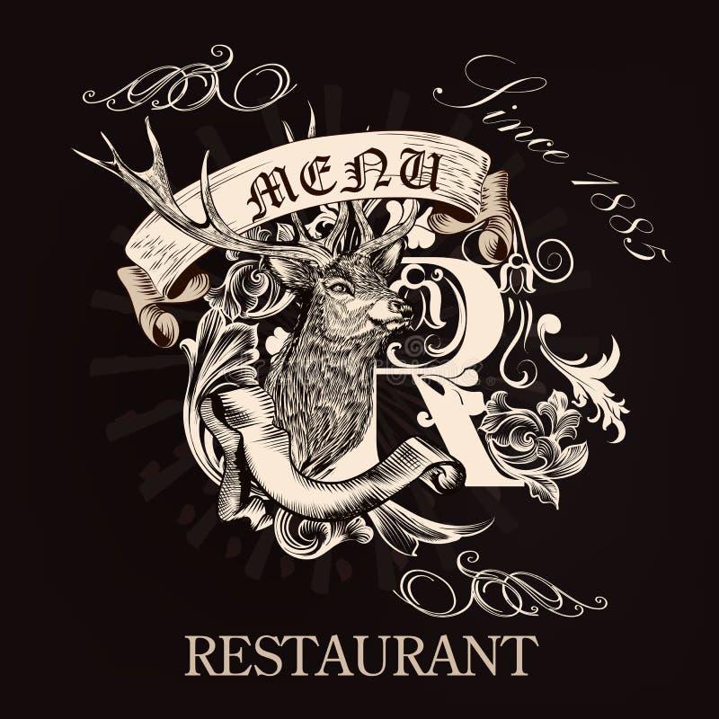Menu projekt dla restauraci w królewskim stylu z ręka rysującym rogaczem, ilustracji