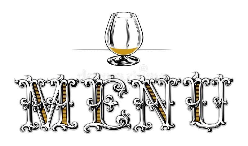 menu pusty szklany wino ilustracja wektor