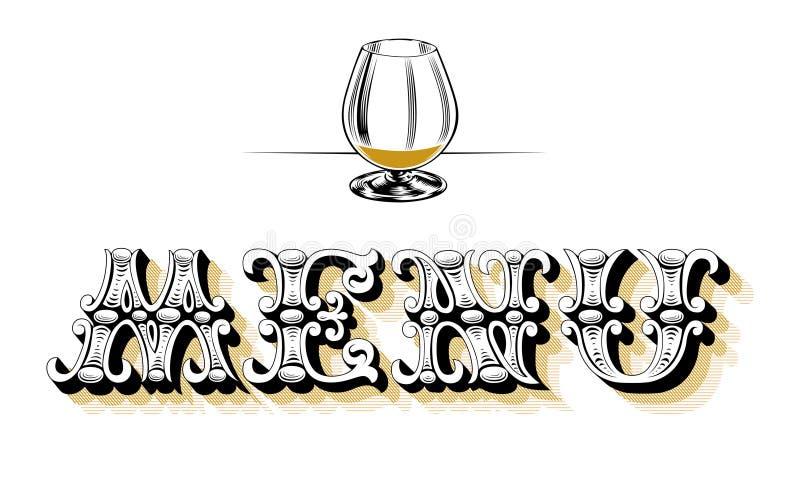 menu pusty szklany wino ilustracji