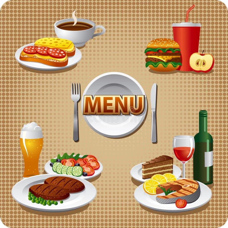Menu quotidien de repas illustration de vecteur