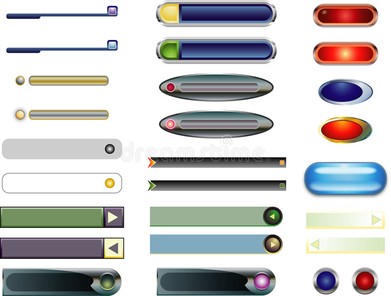 Menu rectangle buttons and rollovers stock illustration
