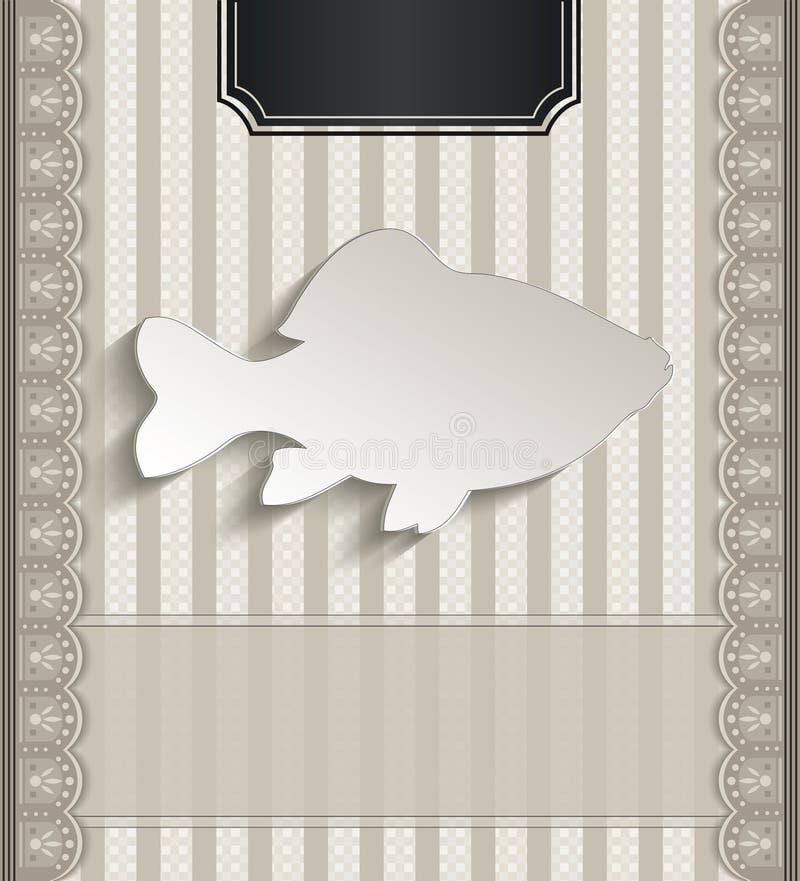Menu restauraci koronki papieru 3D naturalna ryba ilustracja wektor
