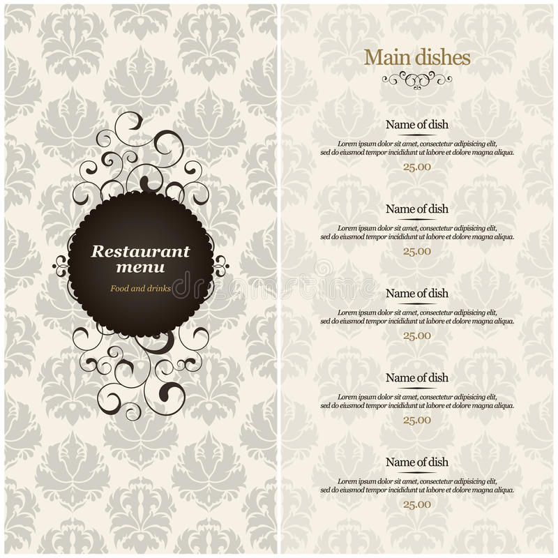 menu restauracja royalty ilustracja