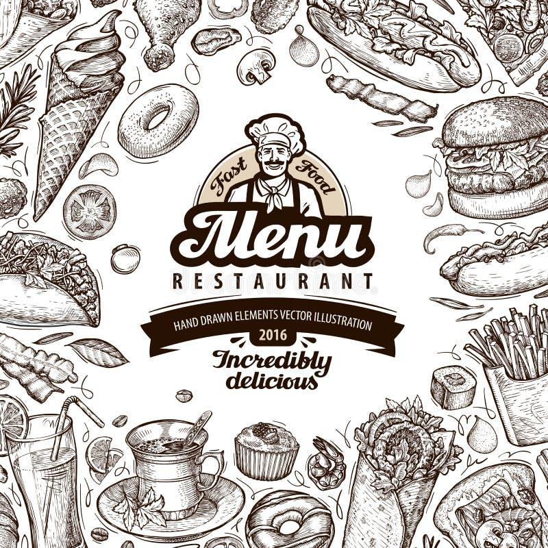 Menu restauracja, cukierniany szablonu projekt nakreślenia jedzenie ilustracja wektor