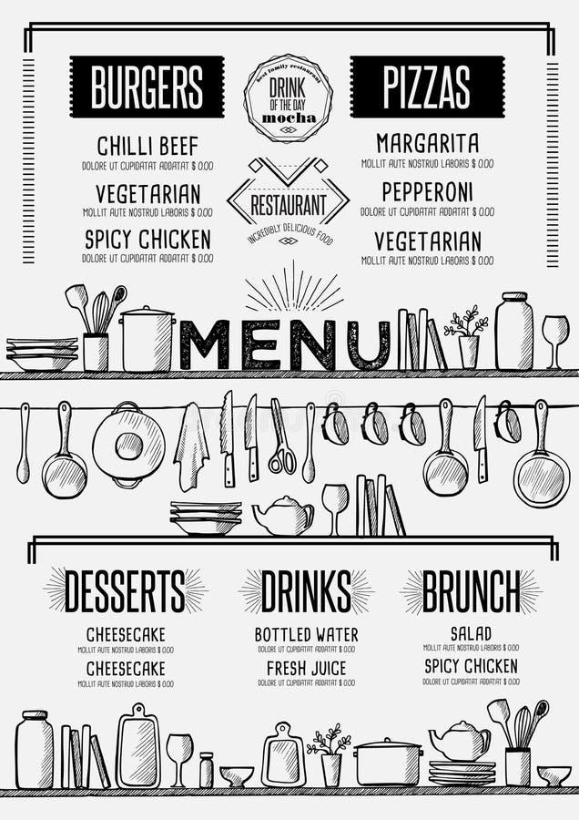Menu restauracja, karmowy szablonu placemat ilustracji