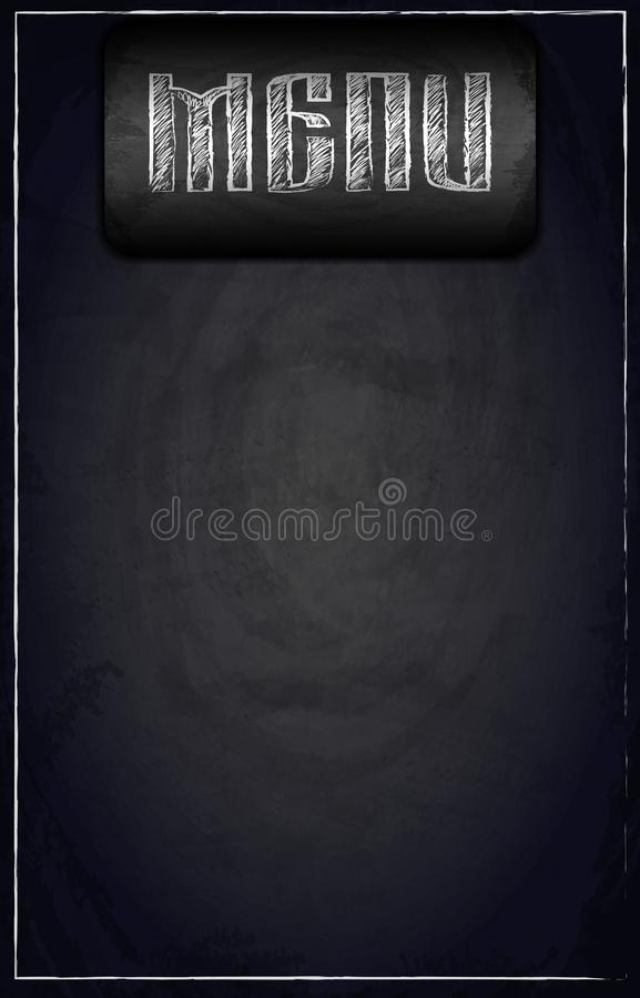 Menu of restaurant on black chalkboard background. Vector illustration royalty free stock photography