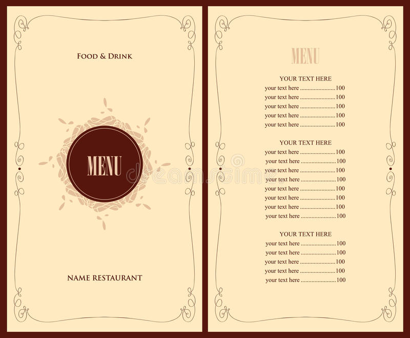 Menu for the restaurant. With floral ornament stock illustration