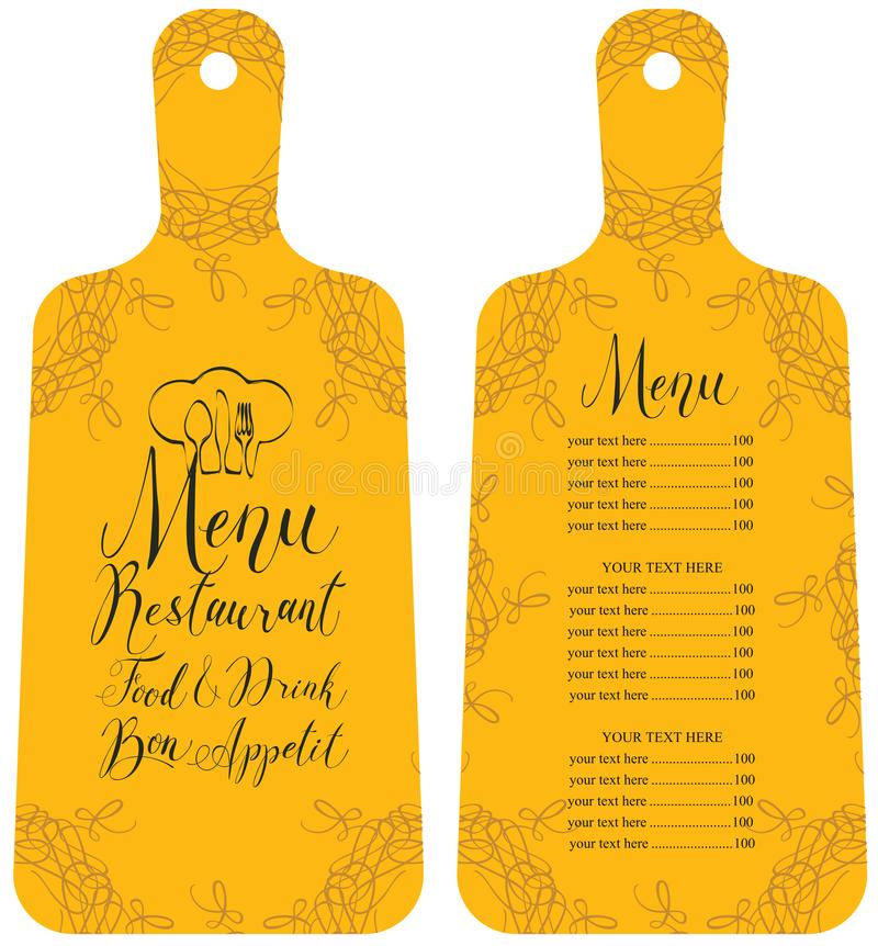 Menu for the restaurant in the form cutting board vector illustration